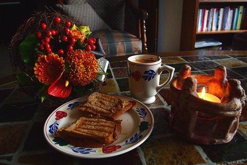 Breakfast, Sandwich, Board, Mug