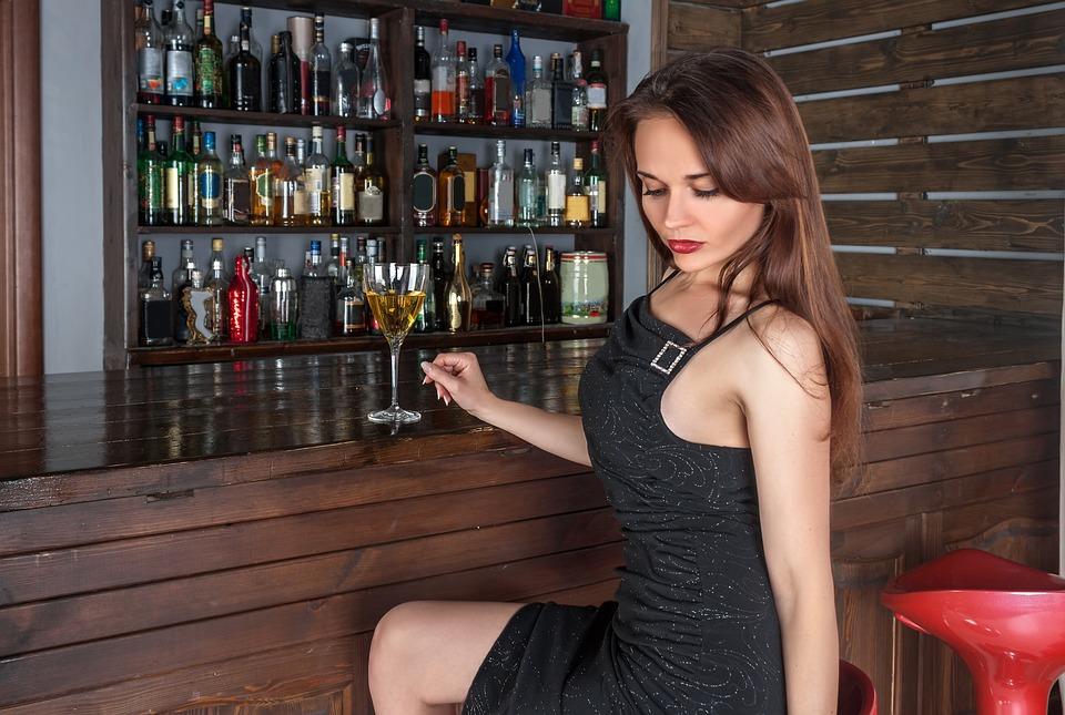 Kvinde, Bar, Vin, Alkohol, Drinks, Flaske, Restaurant