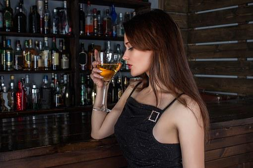 女性, モデル, カクテル, ドリンク, ワイン, アルコール, ボトル