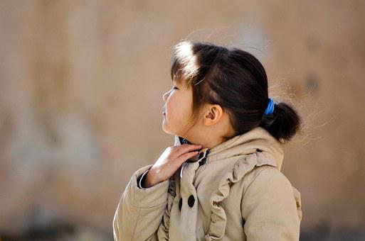 Girl, Child, Young, Kid, Coat, Playing