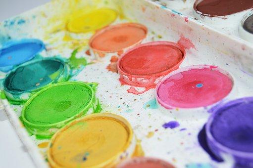 絵画, 色, カラフルです, ブラシ, 水彩画, 水, アート, 芸術的, 学校