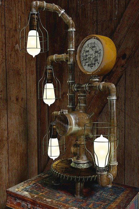 steampunk lamp vintage free photo on pixabay. Black Bedroom Furniture Sets. Home Design Ideas
