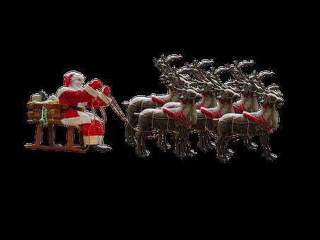 Christkind oder Weihnachtsmann? Weihnachtsmann mit Rentieren