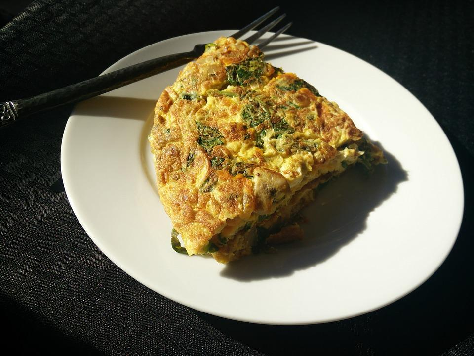 Omelette, Eggs, Fork, Spinach, Food, Meal, Omelet