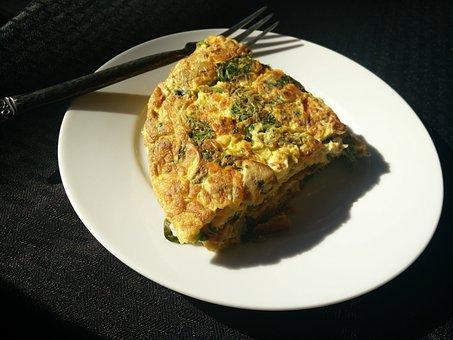 オムレツ, 卵, フォーク, ホウレンソウ, 食品, 食事, 野菜, 調理