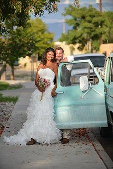 Mariage, Camion, Vintage, Heureux