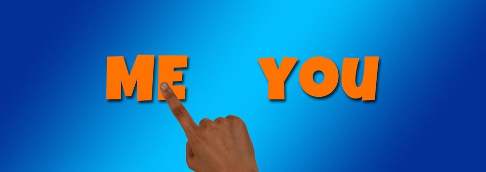 バナー, ヘッダー, 私は, あなた, と, 指, 表示, タッチ, お問い合わせ, エゴイスト, 利己主義