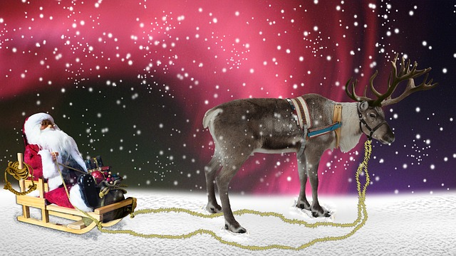 free illustration  santa  reindeer  christmas  winter