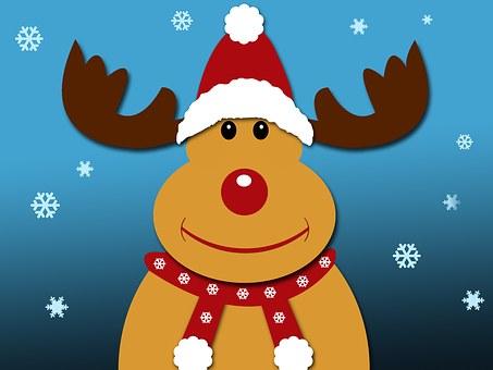 Christmas, Reindeer, Rudolph, Snowflakes