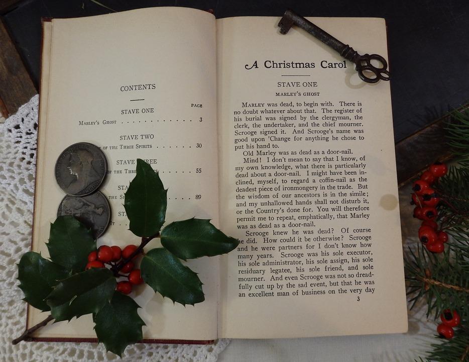 Natale, Agrifoglio, Antico, Libro, Libro Marrone