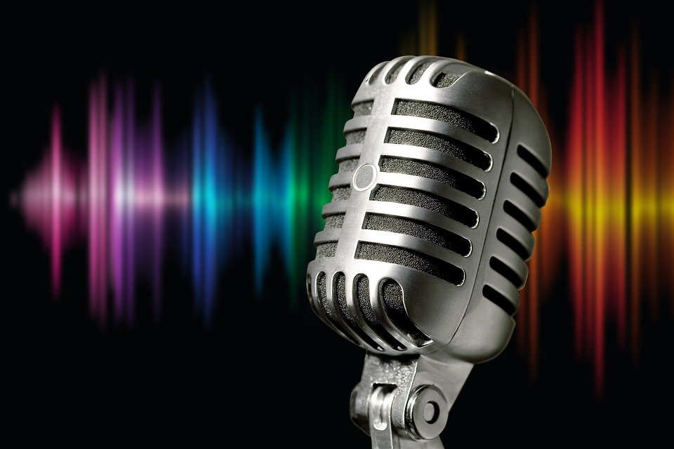 Microphone, Silver, Metal, Sound Waves, Colorful