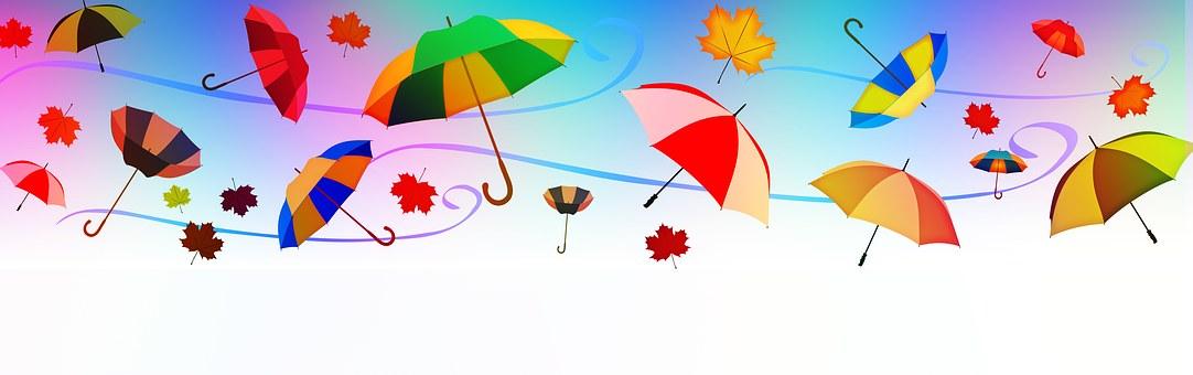 Bannière, En Tête, Parapluies, Vent