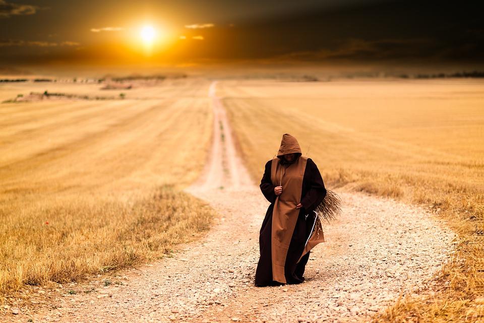 Mnich, Pielgrzymka, Ścieżka, Zachód Słońca, Pielgrzym