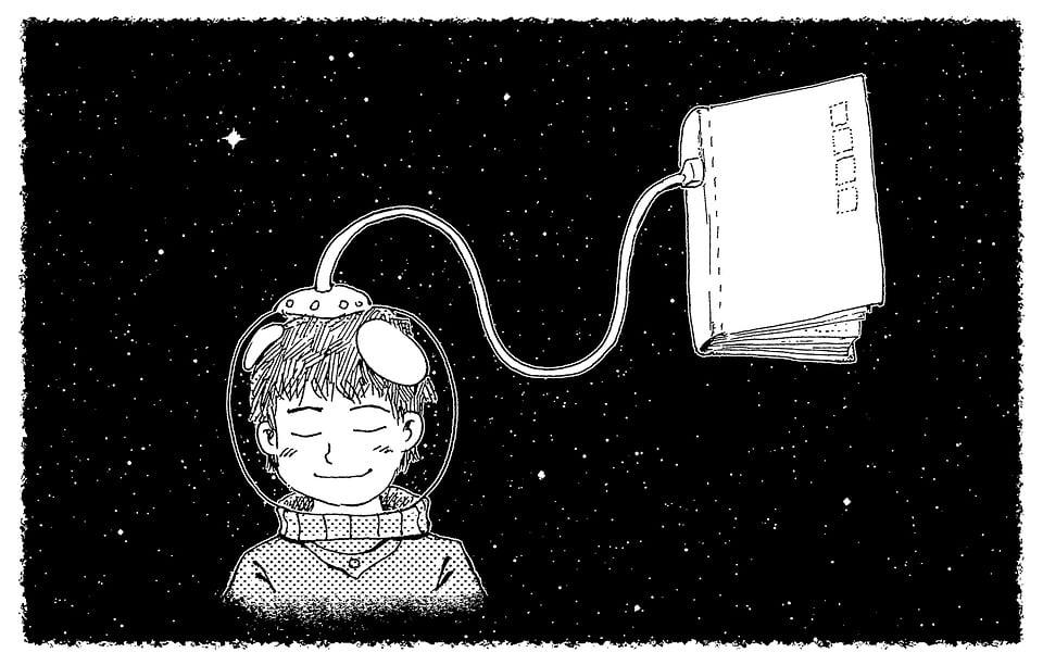 おとぎ話, ファンタジー, 夢, 泊, コスモス, 宇宙飛行士, 本, 少年, 読み取り, 星, 絵画, 漫画