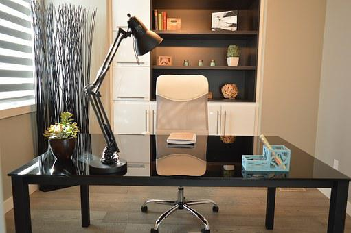 Office, Home, House, Desk, Chair, Lamp