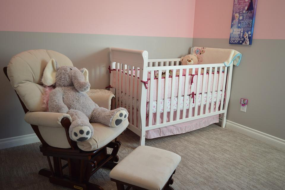 Nursery, Crib, Chair, Bedroom, Room, Home, Child, Baby