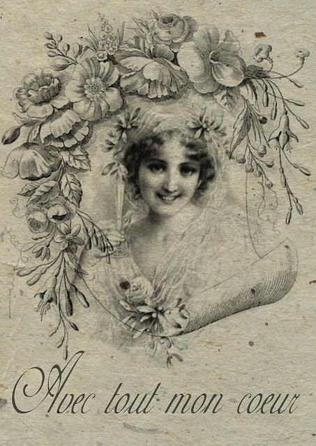 Free Illustration Vintage French Collage Bride