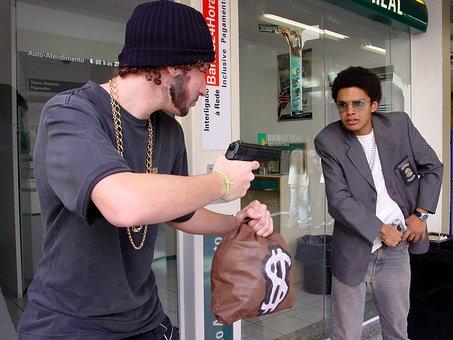 Ladrón, Pistola, Dinero, Banco