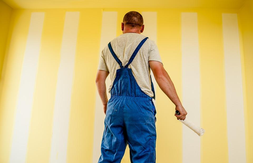 建物, 画家, 絵画, ストリップ, 塗料, プロフェッショナル, 従業員, ビルダー, 労働者, ローラー