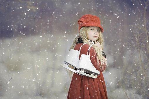 Skøyter, Vinter, Snø, Jente, Kvinne