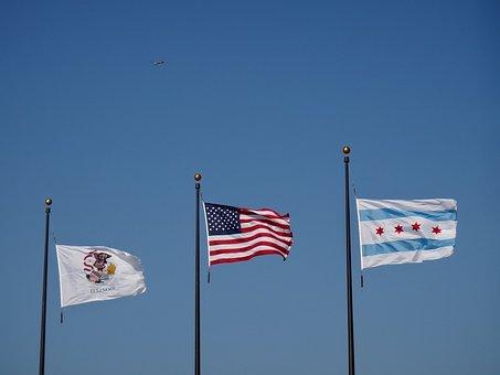 Chicago, Flags, Usa, Sky, Seibt, Chicago