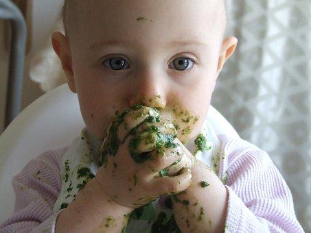 顔, 子供, 小さな, 食べる, 赤ちゃん, 食事, 汚いです