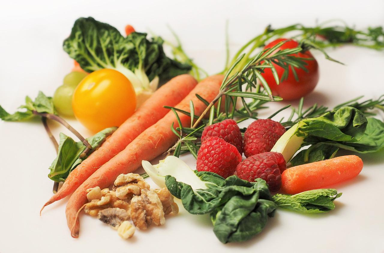 raw vegetables and fruits