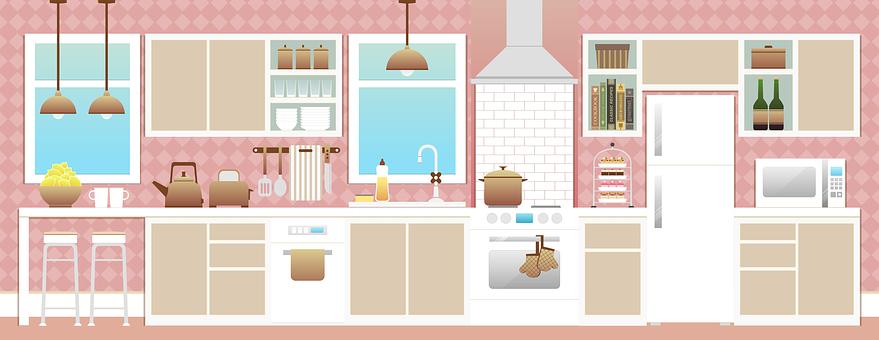 キッチン, ルーム, キッチンインテリア, アプライアンス, 家具, 食器棚