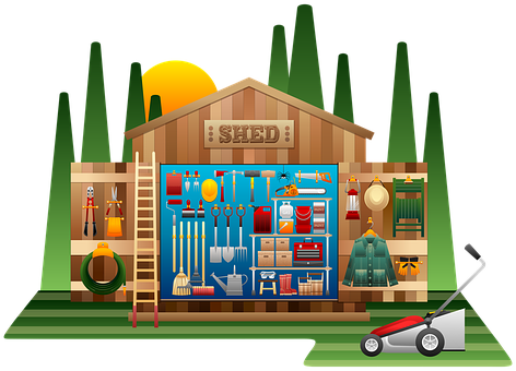 Shed, Shed Tools, Wooden, Gardening