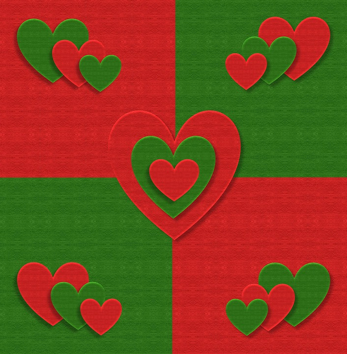 Christmas, Fabric, Hearts, Love, Red