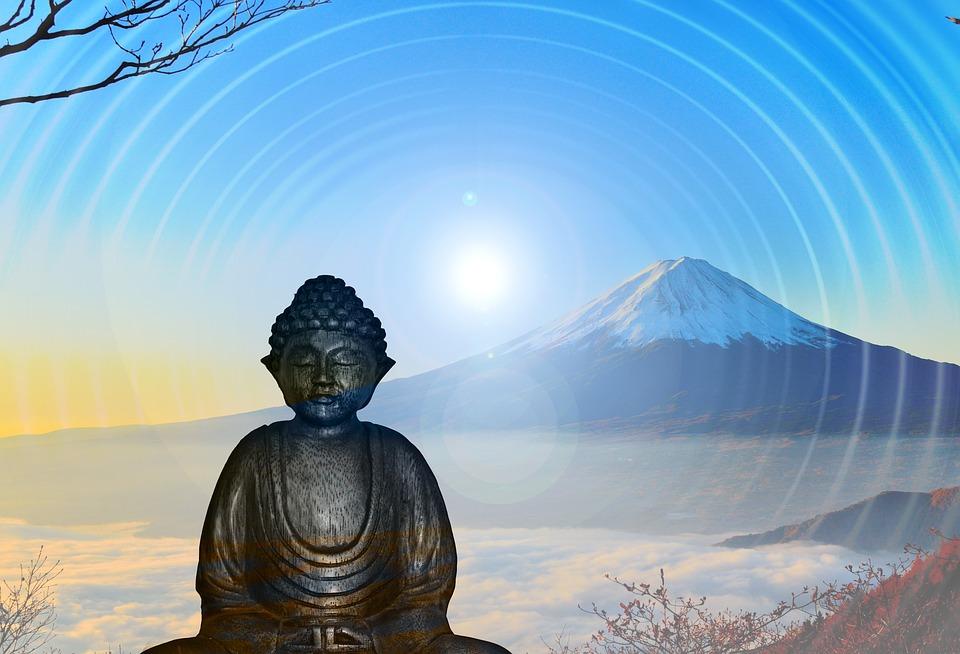 瞑想, 肯定的です, 肯定的に考える, 仏, 山, 太陽, シルエット, 態度, 残り, バランス, 座る