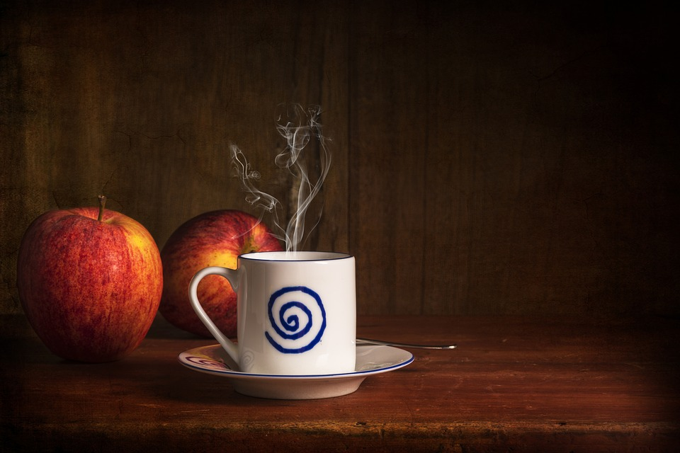 Still Lifes, Coffee, Apples, Smoke, Suitcases