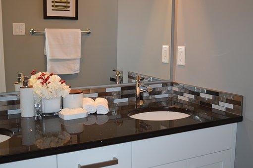 Sink, Bathroom, Vanity, Counter, Mirror