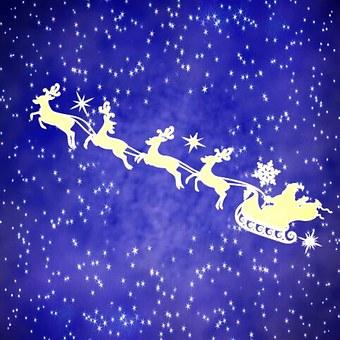 Jultomten Med Renar, Starry Sky