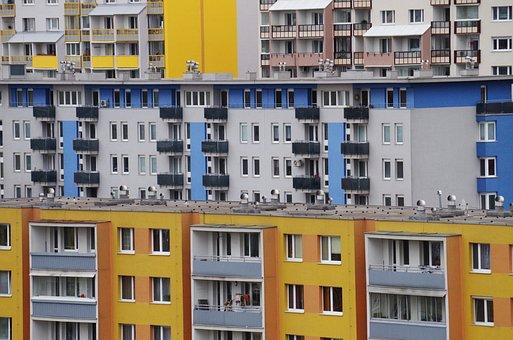 Cidade, apartamentos, edifícios, habitação