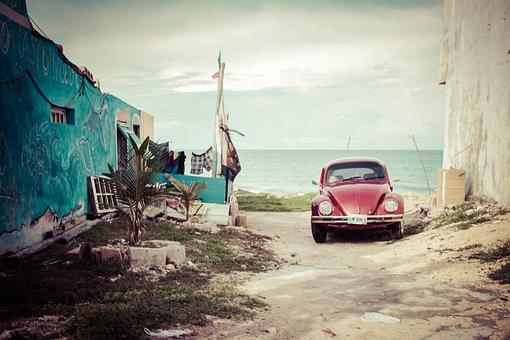 車, フォルクスワーゲン, 古い, カブトムシ, メキシコ, ストリート