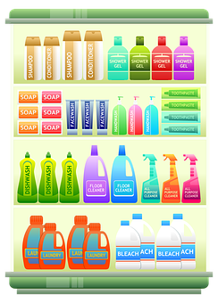 Supermarket Shelf Products Shampoo Househo