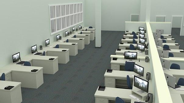 オフィス, 仕事, コンピュータ, 事務机, 企業