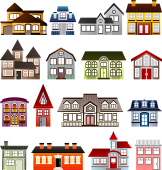 Houses Set Architecture Clip Art Buil