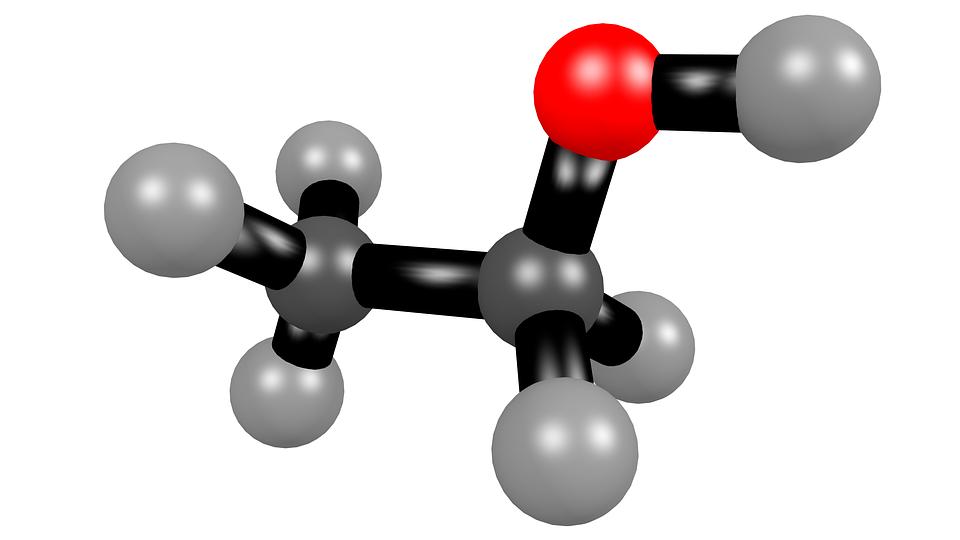 Etanol, Alkohol, Molekyl, 3D, Strukturformel, C2H6O