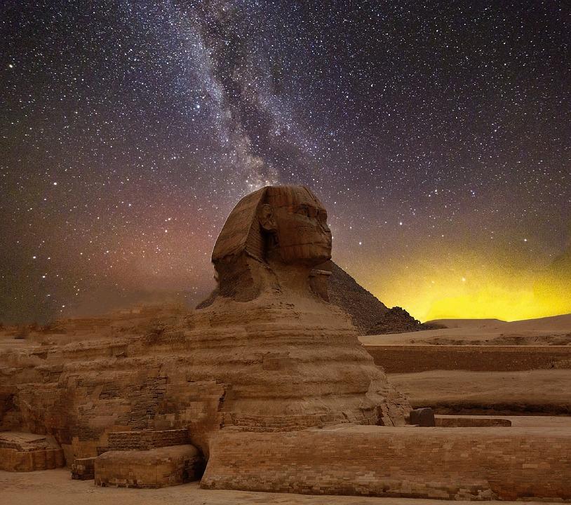 Tähti, Yötaivas, Pyramidit, Sfinksi, Egypti