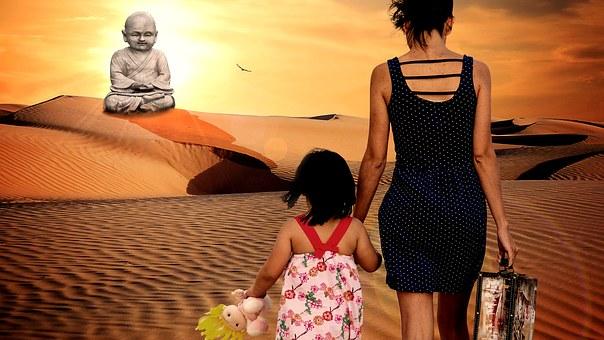 Buddha, Photoshop, Child, Mother