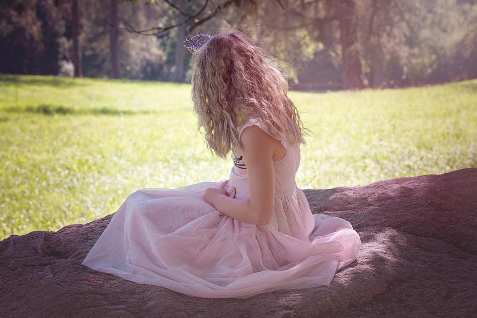 人, 人間, 女の子, 子, ブロンド, 長い髪, ルアー, ドレス, ピンク, 自然, 外, 肖像画