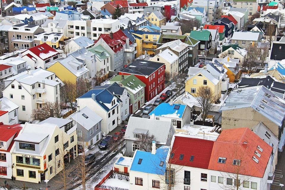 Vue De Dessus, Maisons Islandaises, Depuis Le Sommet