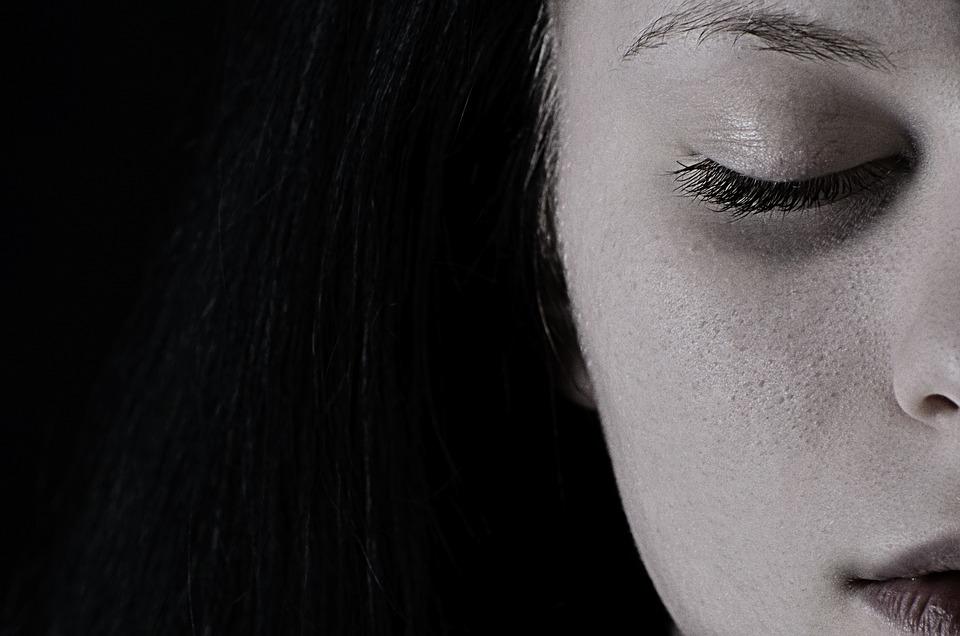 Ragazza, Depressione, Tristezza, Viso, Pelle, Ritratto