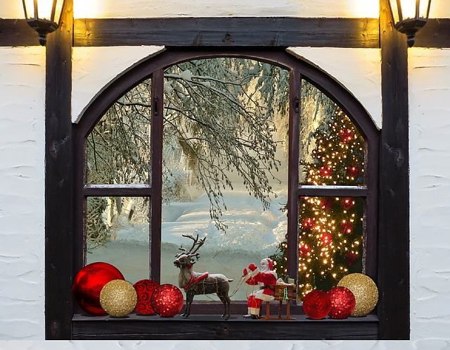 Free photo christmas christmas tree window free image for 18 lighted christmas tree with stars window silhouette decoration