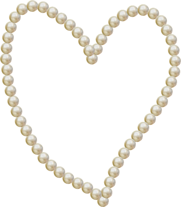 heart pearls frame love decoration romantic white