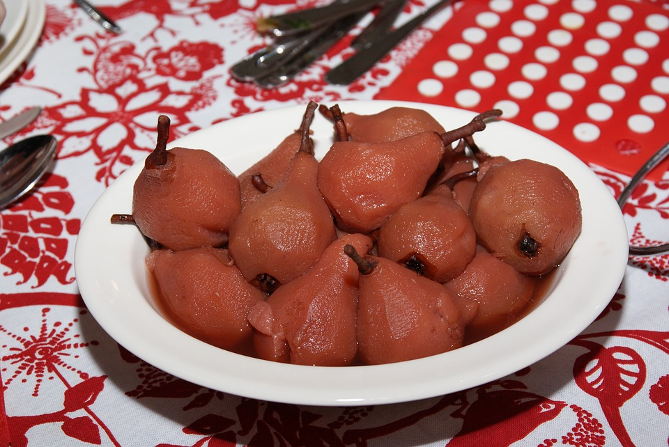 Cooking Pears, Christmas Dinner, Pears, Red, Side Dish