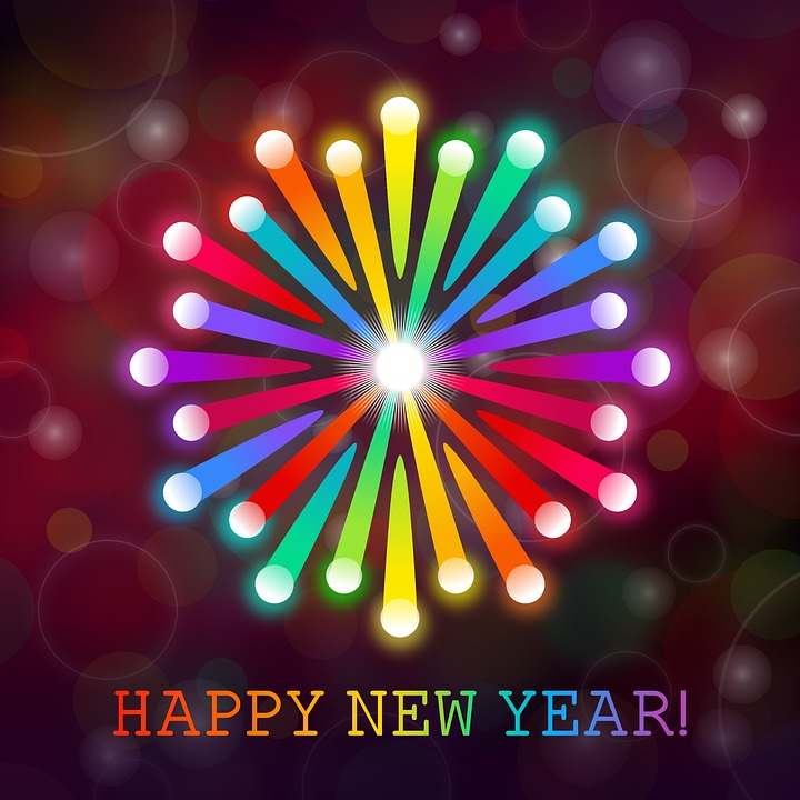 happy new year card fireworks card new year card