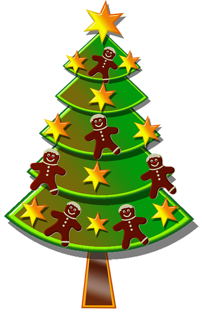 Free illustration christmas tree stars gingerbread for Arbol de navidad mural
